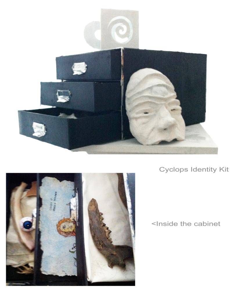 Cyclops ID Kit - mask, filing cabinet, drawings, bones, an eye.