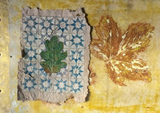 Handmade papers and leaf prints